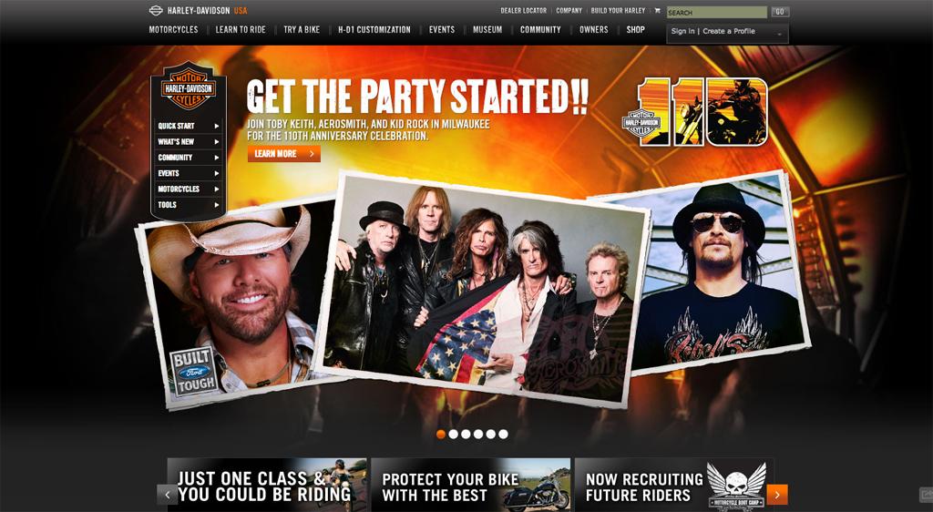 Harley Davidson USA Homepage