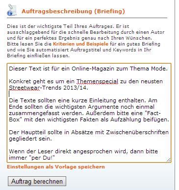 Textbroker Auftrag Briefing